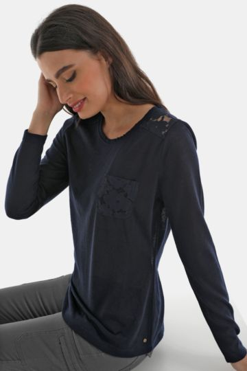Lace Detail Long Sleeve Tee