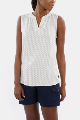 Printed Sleeveless Henley Top