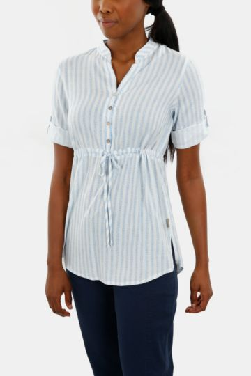 Striped Cotton Henley Top