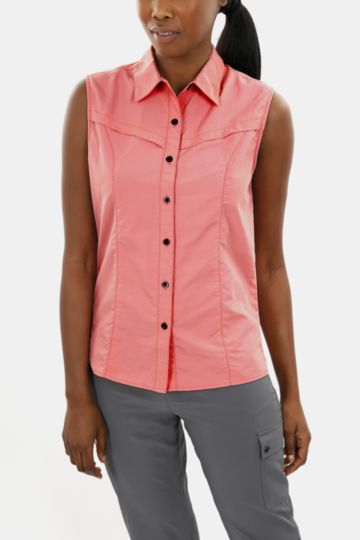 Button-through Sleeveless Shirt