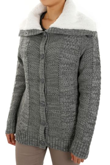 Sherpa-lined Cardigan