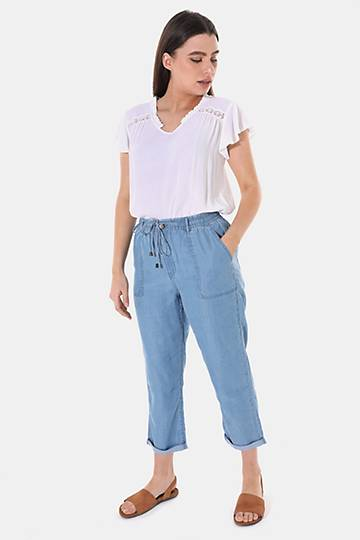 Chambray Cropped Bottoms